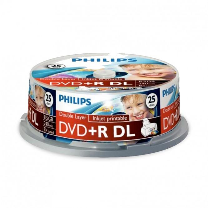 25 DVD+R DL Philips 8,5GB 240 Minuti Printable IW25 DR8I8B25F/00